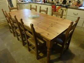 LARGE FARMHOUSE TABLE and EIGHT CHAIRS
