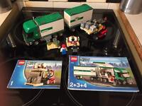 Lego cargo truck and fork lift, minifigures, full instructions