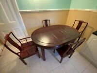 Mahogany solid dining table with 4 chairs