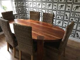 Stunning Solid Wood Oval Dining Table and 6 Chairs