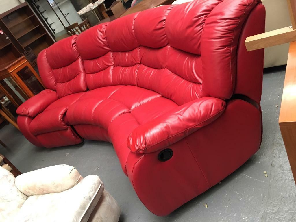 Red Leather Reclining Curved Sofa Suite