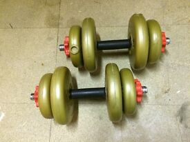 York Barbell set, as new condition.