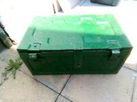 Green vintage antique world war 2 metal ammunition trunk storage