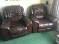 Leather brown electric recliner chair x 2