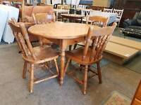 Pine dropleaf table and 4 chairs