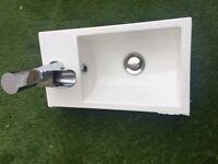 modern rectangular basin and white toilet
