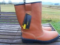 AMBLERS SAFETY TAN RIGGER BOOTS steel toe/sole size 10(44) never worn not fur lined £25