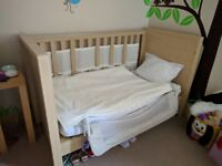Matching cot bed, changer with drawers and wardrobe set