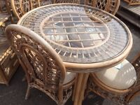 GOOD CONDITION, cane furniture set, 4 chairs with glass topped table with display unit, 4 chairs.
