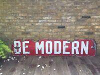 Vintage Reclaimed Decorative Sign: 'Be Modern'