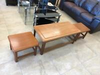 Wooden coffee table with matching table tables