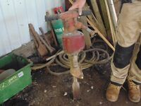 Jack hammer with air hose and chisels