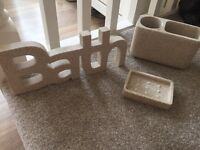 Bathroom accessories toothbrush holder, soap dish and bath sign in excellent condition