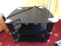 Black glass tv and media stand