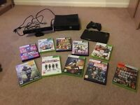 Xbox 360 with kinect, drawing pad, controller and 10 games