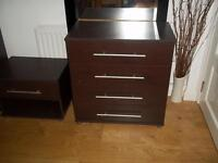 Chest of drawers and bedside cabinet in Wenge in VGC