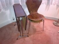 vintage folding or extending table with two chairs can deliver