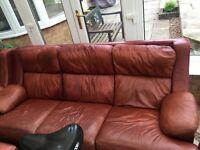 Free Leather 3 seater sofa, Armchair and footstool