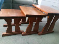Quality Solid Heavy Oak Set / Nest of Three Tables - Ideal for Upcycling / Renovation