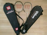 Wilson Hyper Hammer 80 & Titanium 7.0 badminton racquets.
