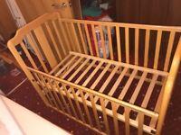 Wooden Baby Nursery Cot/Crib Bed Drop Side Adjustable Memory Foam Mattress Included