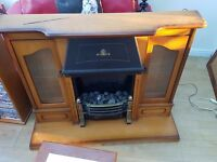 Electric fire and Wooden light teak surround