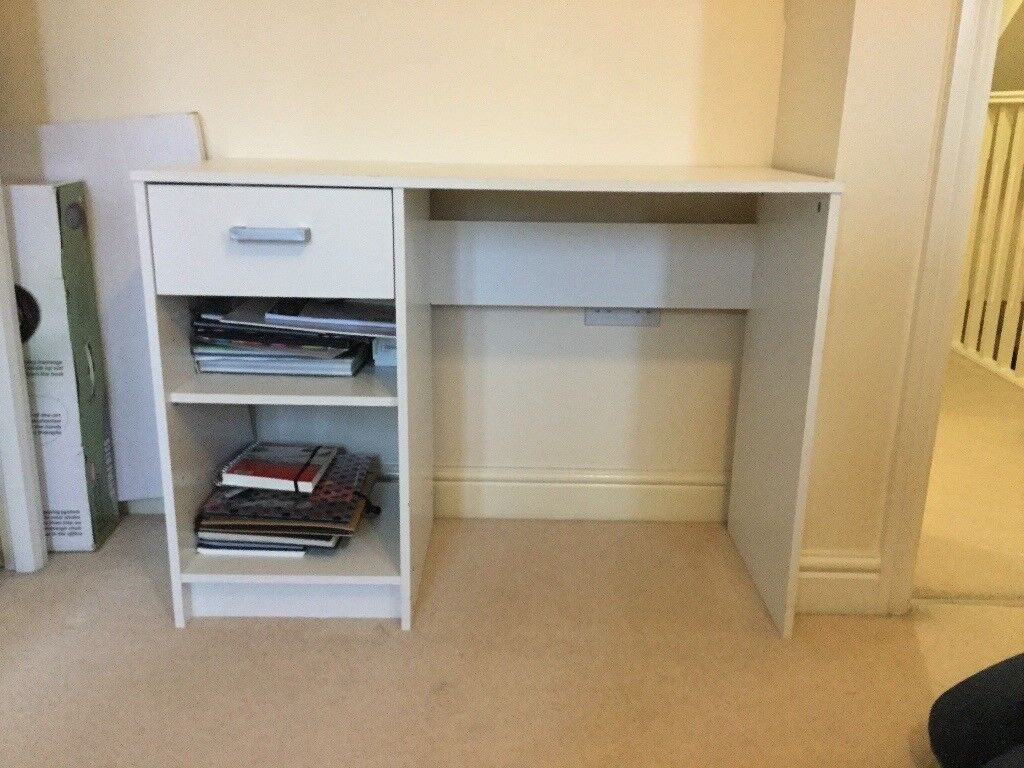 White desk with draw and shelves