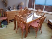 Conservatory Cane Table and 8 chairs
