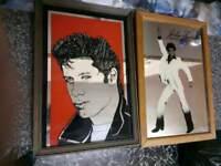 2 vintage Collectable framed mirrors John Travolta