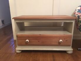 TV unit, cream and pine with drawer