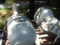 TWO EVINRUDE BRP 200HP OUTBOARD MOTORS+CONTROLS