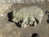 Mother Sow Pig with Piglets in cast stone.