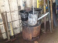 bitumen boiler and burner buckets pouring can scoops and metal mop bucket. view my other adds.
