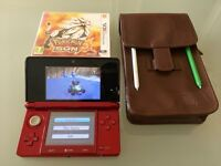 Nintendo 3DS Red + Pokemon Sun & Mario Kart 7 + Zelda Deluxe Edition Bag and 2 Stylus Pens + Charger
