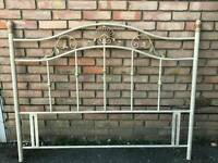 King-size French styled white and gold metal headboard