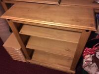 SOLD: Corona solid waxed pine 3-shelf bookcase