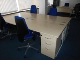 2 - RECTANGULAR DESKS - 1400MM X 800MM & PEDESTALS ARE AVAILABLE ALSO - VG CONDITION