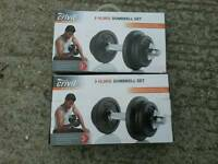 Two sets of Crivit Sports 10.3kg Dumbbells.