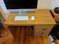 Office Desk, Natural Wood Finish