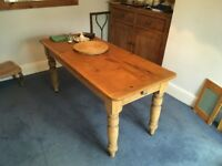 Genuine Victorian pine dining table 5'5 x 2'4