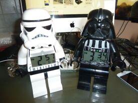 LEGO STAR WARS DARTH VADER & STORM TROOPER ALARM CLOCKS