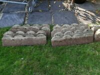 Concrete scalloped lawn edging