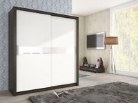 Brand New Modern High Quality 2 Sliding Door Wardrobe ADEL White / Brown