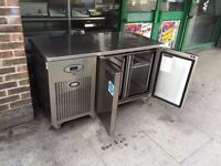 COMMERCIAL 2/TWO DOOR BENCH FRIDGE USED IN CATERING RESTAURANT CAFE BAR PUB KITCHENRY KITCHEN