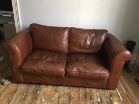 Beat up Laura Ashley leather 2 seat sofa
