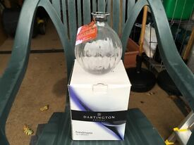 Darlington Crystal Vase with Hand Engraved Orchid