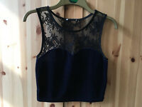 Urban Outfitters Blue Velvet Skater Skirt and Top, Size 8.