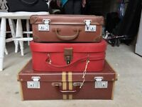 Three old suitcases for sale, ideal for upcycling. For collection only.
