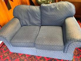 2 seat sofa and armchair blue fabric