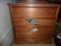 Antique Pine Chest of Drawers, tongue and groove, good condition.